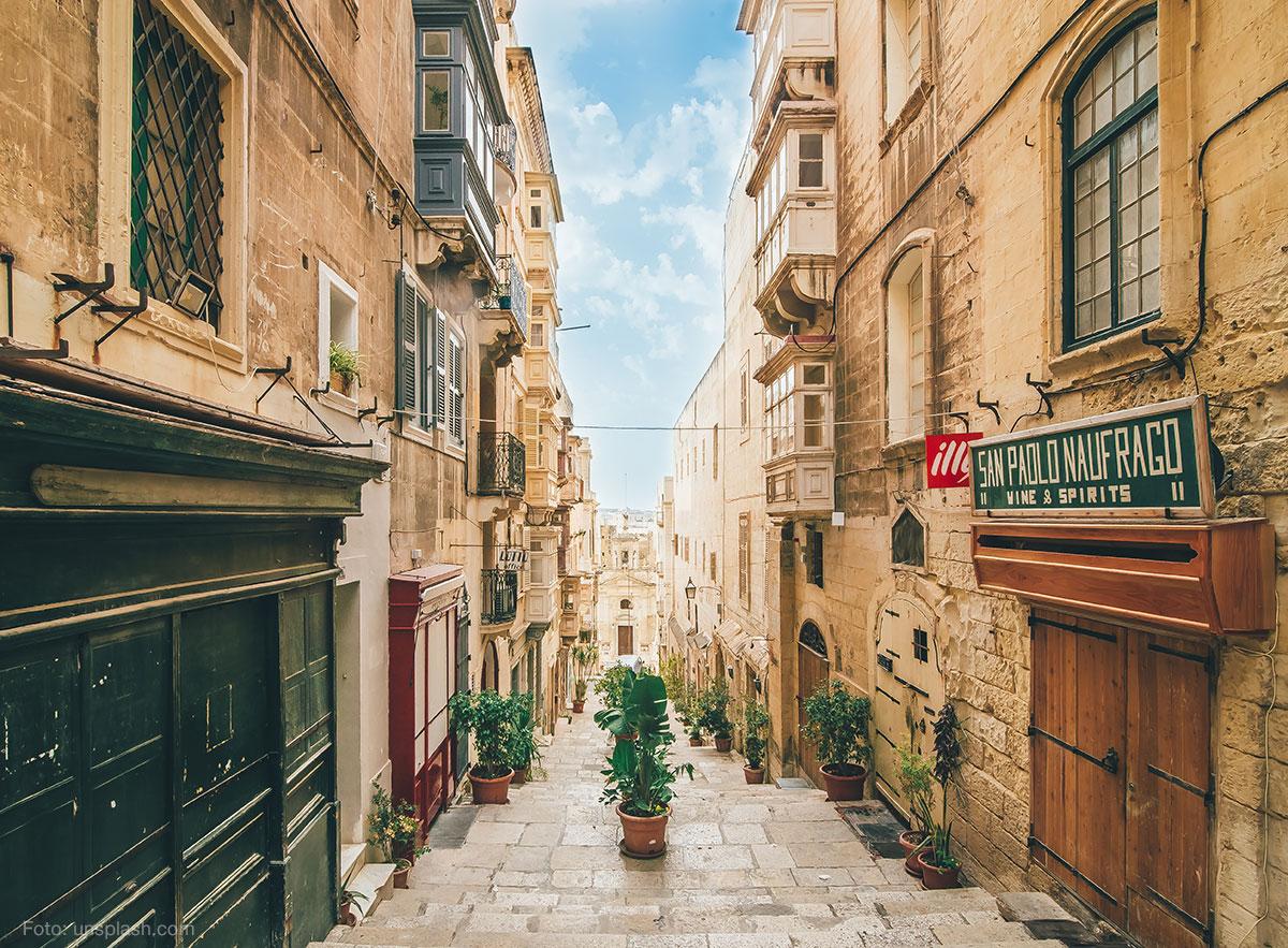 Gasse in Valetta auf Malta
